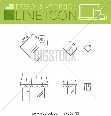 Line Icons. Responsive Design. Price Tag And Store.