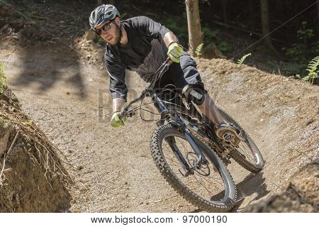 Mountain Bike Rider Gravity Slope Front