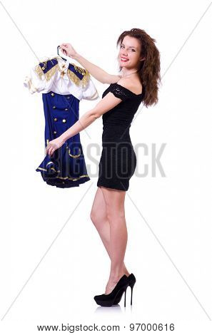 Pretty girl with dresses in her hands isolated on white