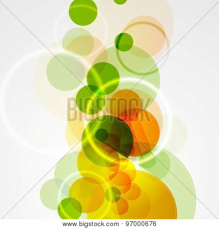 Abstract bright green, yellow, orange summer circular geometric background. Vector design