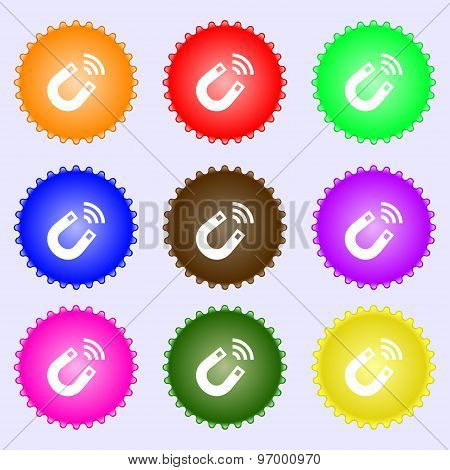 Magnet Icon Sign. A Set Of Nine Different Colored Labels. Vector