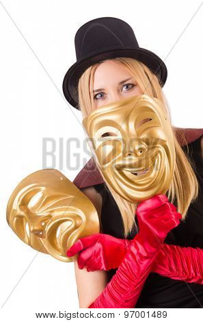 Woman with theater masks isolated on white