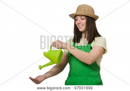 Woman with water can isolated on white