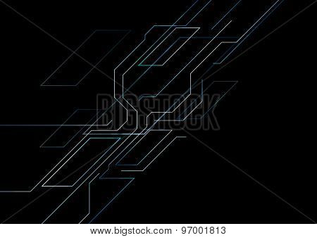 Dark tech geometric background. Vector design