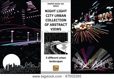 Night light landscapes city views set