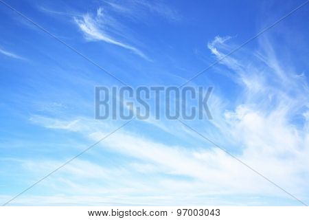 Blue sky with fantastic clouds, may be used as background