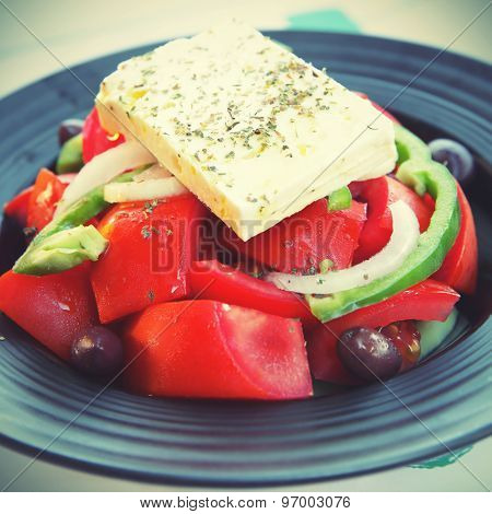Greek salad. Instagram style filtered image