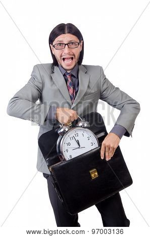 Young businessman holding briefcase and alarm clock isolated on white