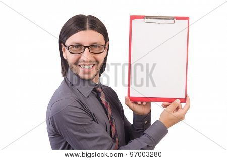 Young businessman with paper isolated on white
