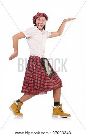 Man in scottish skirt isolated on white