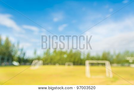 Blurred Shot Of Soccer Field At School On Day Time Image