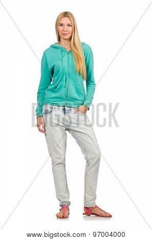 Pretty woman wearing casual style isolated on white