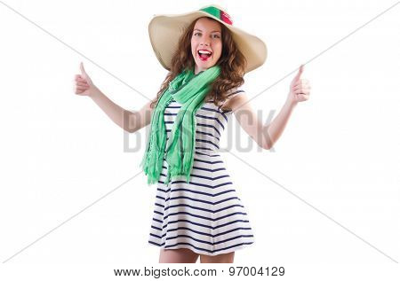 Happy woman in panama and green scarf isolated on white
