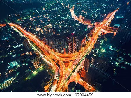 Aerial View Of A Massive Highway Intersection In Tokyo