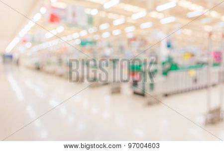 Blurred Image Of Shopping Mall With No People For Background Usage.
