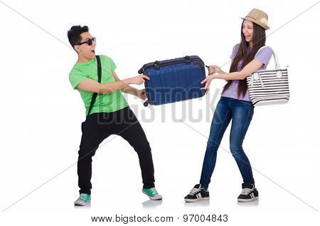 Girl and boy with suitcase isolated on white