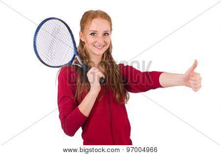 Pretty female tennis player isolated on white