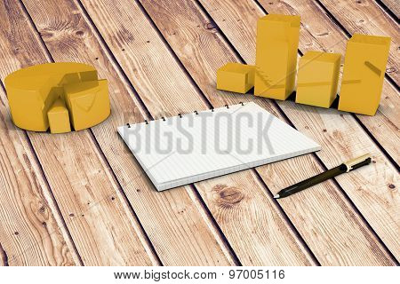 Notepad with graphs against wooden planks background