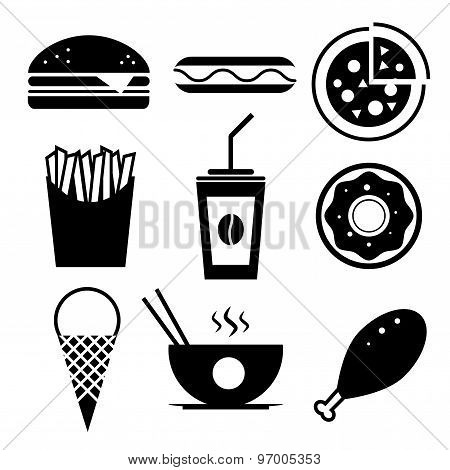 Fast food vector icon set. Burger, ice cream, coffee, chinese fo