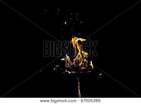 Image of bright orange flame by night