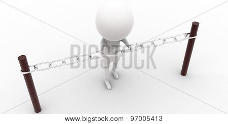3D Man Tied By A Chain Which Is Connected To Barriers