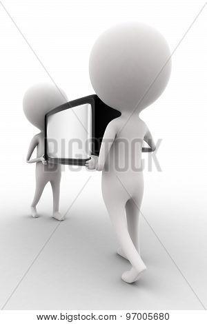 3D Man Carrying Television By Hand Concept