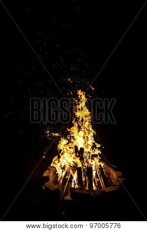 Photo of big bright campfire