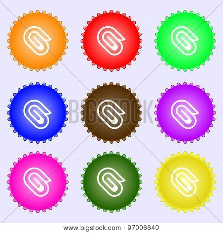 Paper Clip Icon Sign. A Set Of Nine Different Colored Labels. Vector