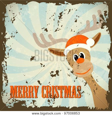 Retro Christmas Theme With Reindeer And Text Merry Christmas