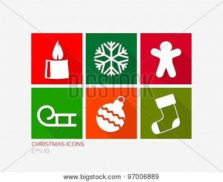 Christmas Simple Icons In Flat Design Style