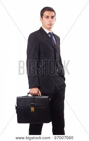 Young businessman holding suitcase isolated on white