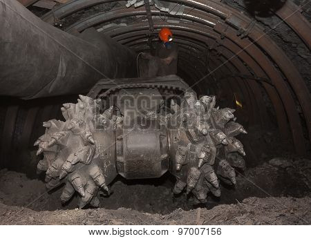 Coal car underground tunnel before work