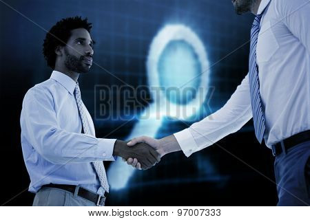 Young businessmen shaking hands in office against digital magnifying glass