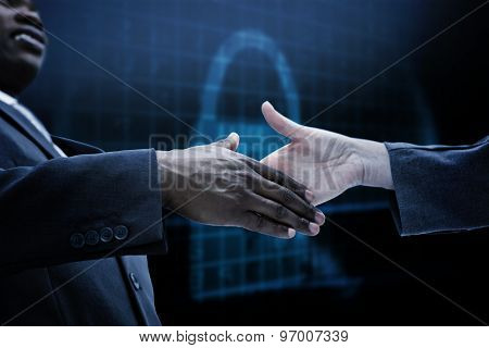 Businessman going shaking a hand against digital security lock