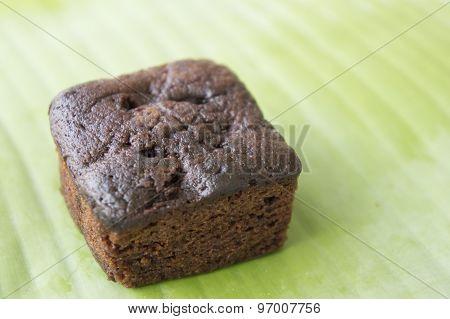Brownie Dessert Stack Chocolate Green Leaf Food Sweet