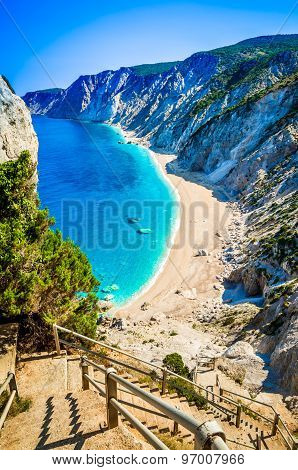 Platia Ammos Beach In Kefalonia Island, Greece