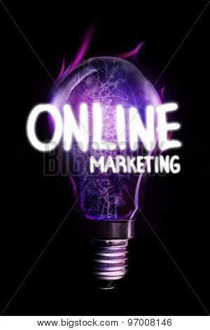 online marketing against glowing light bulb