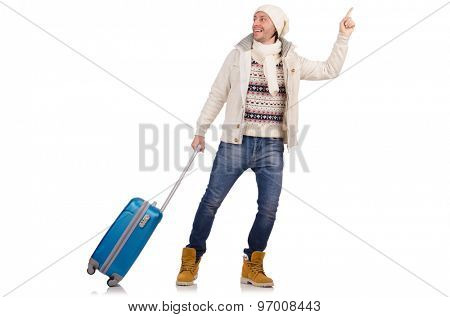 Tourist holding suitcase isolated on white