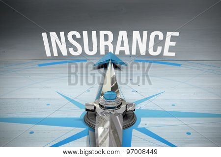 The word insurance and compass against bleached wooden planks background