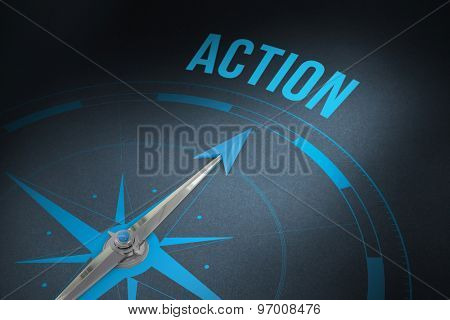 The word action and compass against grey