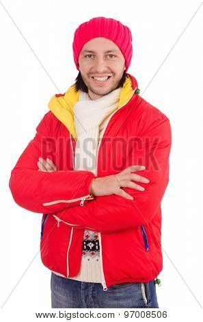 Young man in winter clothes isolated on white
