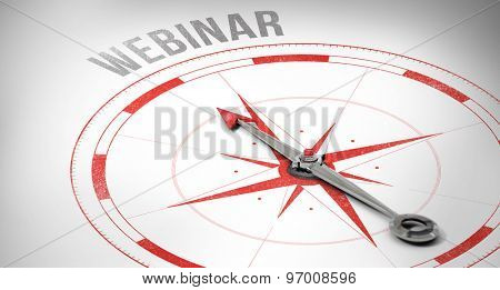The word webinar against compass