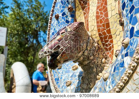 BARCELONA, SPAIN - MAY 02: Fountain at Parc Guell in May 02, 2015 in Barcelona, Spain.