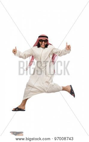 Arab man jumping from joy