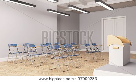 Conference room with row of chairs and standing desk for a speech (3D Rendering)