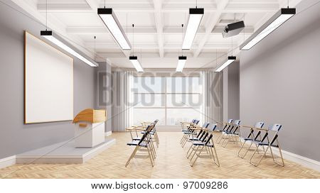 Workshop with chairs and standing desk in a conference room (3D Rendering)