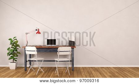 Desk with laptop computer standing in home office in front of an empty wall (3D Rendering)