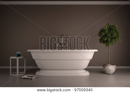 Detached white bathtub standing in a bathroom in front of a wall (3D Rendering)