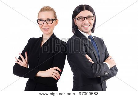 Businessman and businesswoman isolated on white