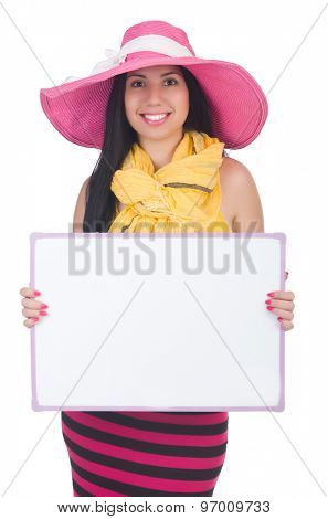 Young girl with poster isolated on white